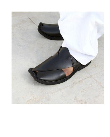 Peshawari Pure Leather Sandals - Black