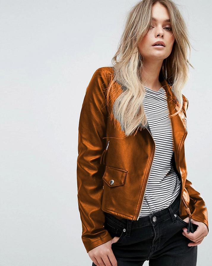 Highstreet Mustard Faux Leather Jacket For Women