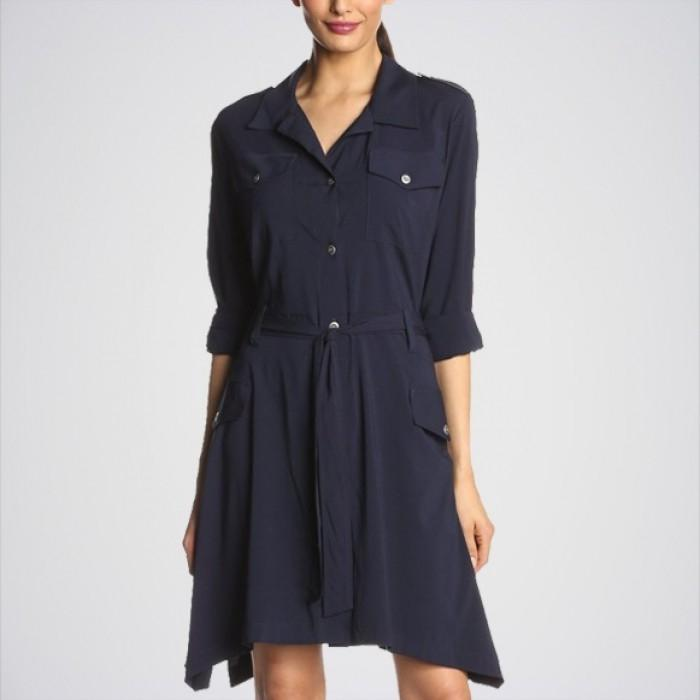 Women's Navy Blue Cover Up Shirt DRS-K91N