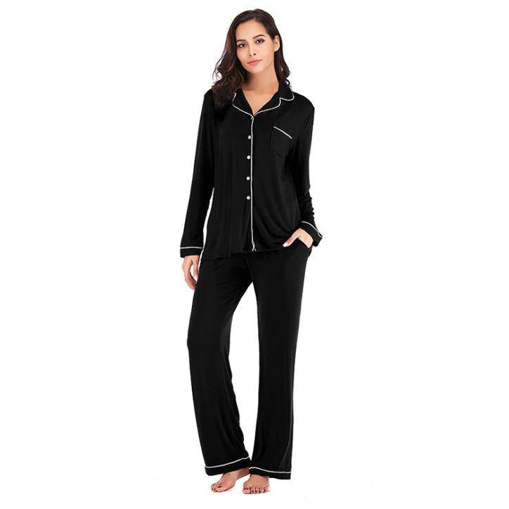Black Cotton Long Sleeves Sleepwear Pajama Sets For Women. SD-956