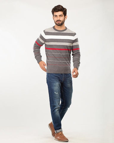 White/Light Grey/D.Grey/Red Cotton 4 Color Stripes Sweater For Men