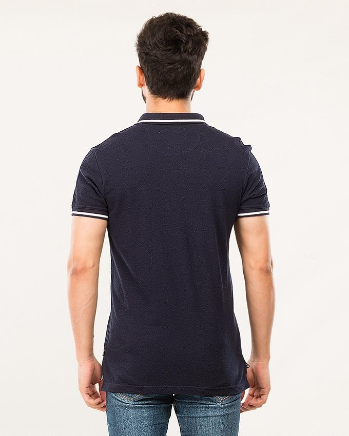 Navy Cambric Solid Polo For Men-Cps 18-01