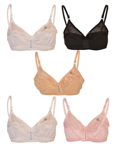 Pack of 5 Roses Luxury Super Net Half Net Jersey 3 Hooks Plain Bra for Women - Multicolour UG-518-32