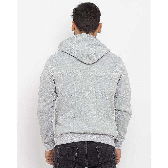 Men's Heather Grey Fleece Basic Hoodie. AJM-H249