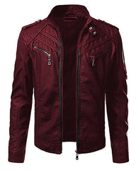 Maroon Faux Leather Highstreet Jacket for Men