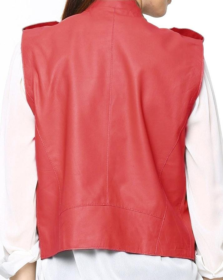 Orange Leather Jacket For Women