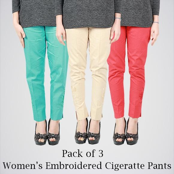 Pack Of 3 Embroidered Cigarette Pants. AJ-0102