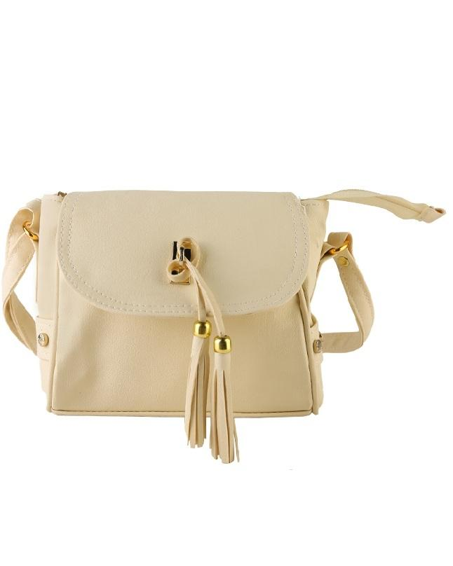 Cream Leather Cross Body Bag
