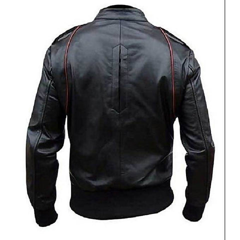 Men Slim Fit Pu Black Leather Jacket A1