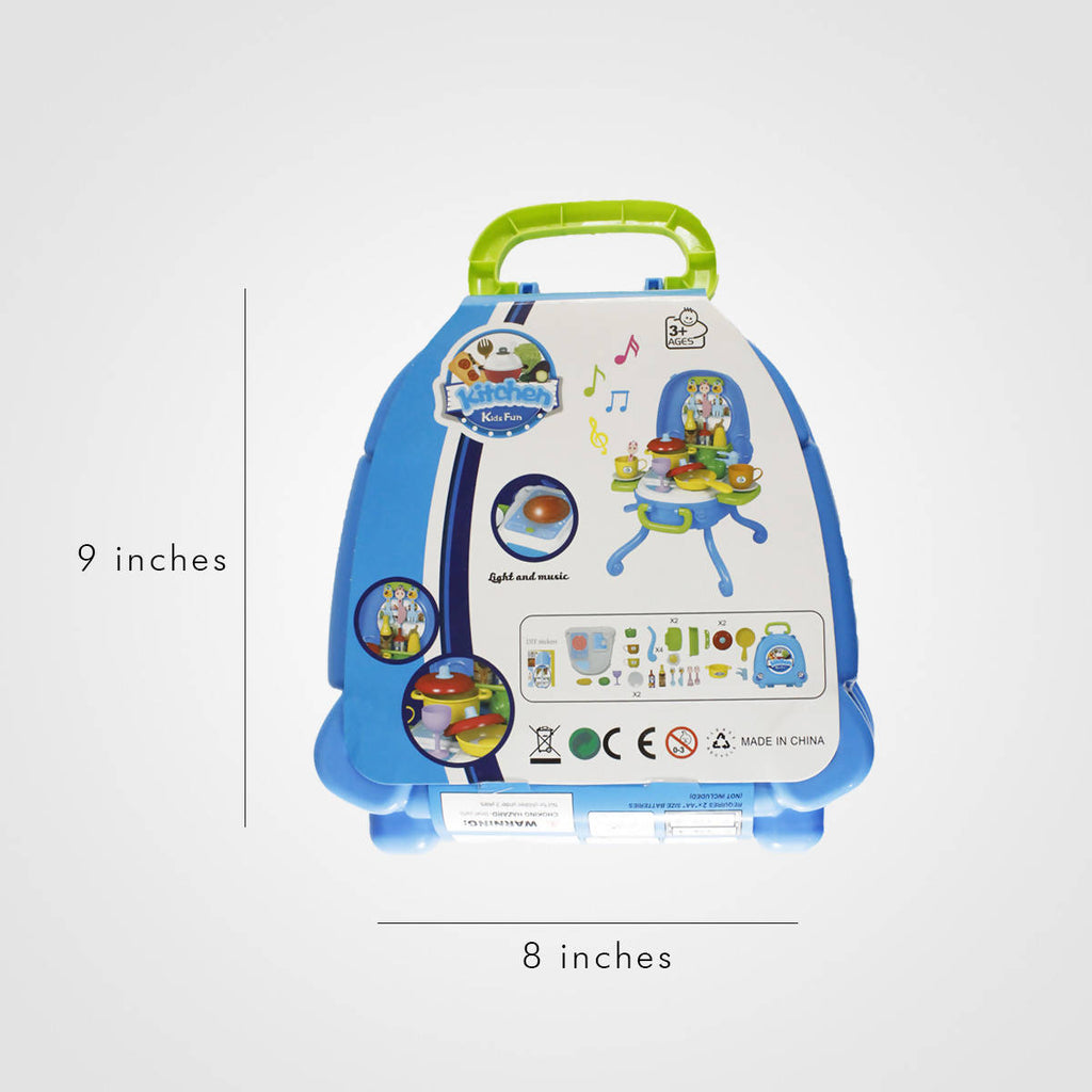 31PCS Set kids play Kitchen Gift Pack Dinner Set Blue
