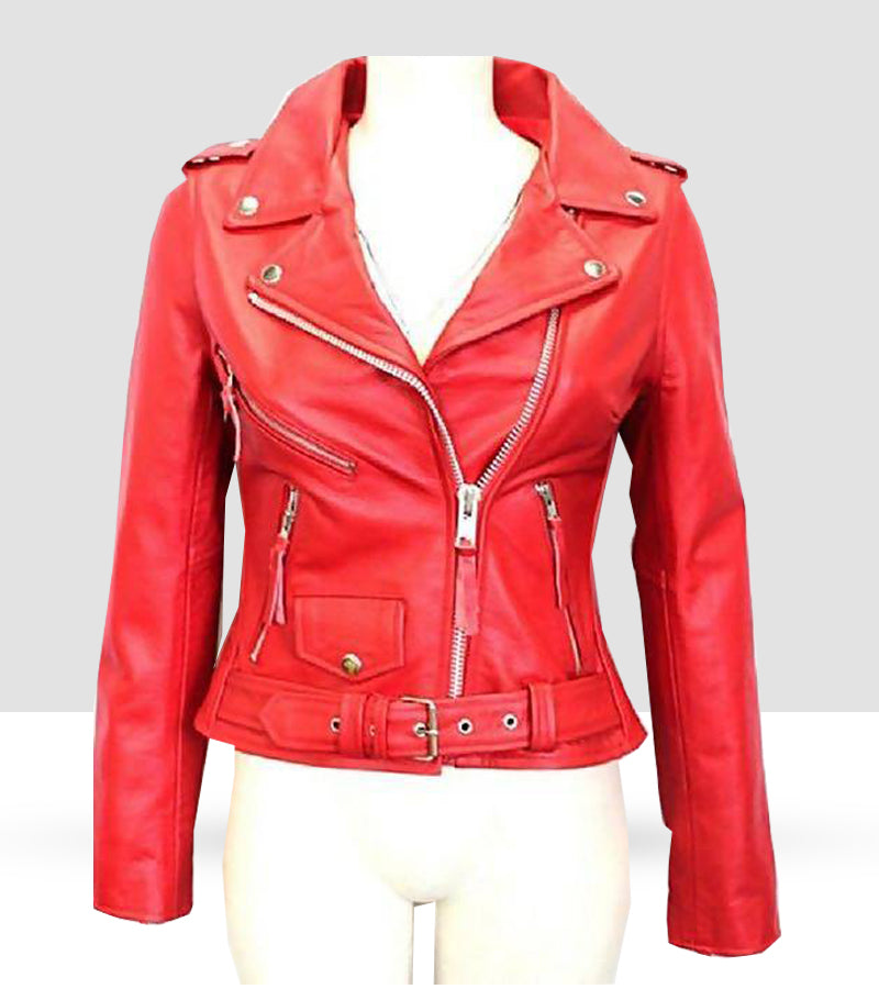 Women Slim Fit Pu Red Jacket MBR