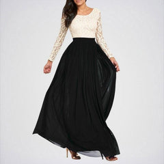 Cream Lace Top Maxi Dress With Black Skirt