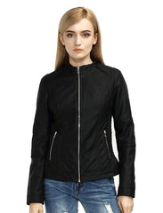 Black Ladies Pu Leather Jacket Women