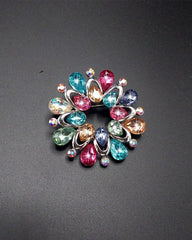 Flower Shape Acrylic Stone Silver Plated Pin Brooch For Women - Multicolor