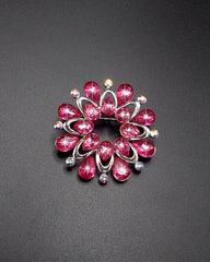 Flower Shape Acrylic Stone Silver Plated Pin Brooch For Women - Pink