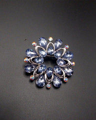 Flower Shape Acrylic Stone Silver Plated Pin Brooch For Women - Purple