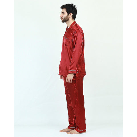 Pack of 2 Satin Silk Night Suit (Pajama + Shirt) for Men - Maroon UG-430-S