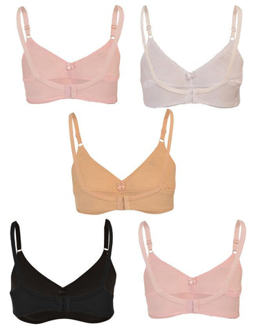 Pack of 5 Roses Gold Jolly Jersey 2 Hooks Plain Bra for Women - Multicolour UG-514-32