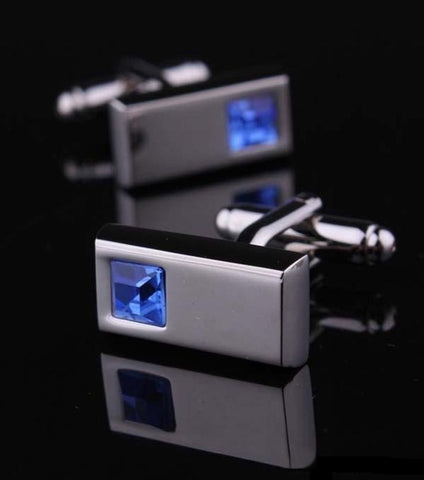 Rhizmal Crystal Glass Blue French Style Cufflinks With Free Gift Packaging.