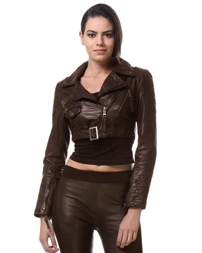Brown Faux Leather Highstreet Jacket for Women