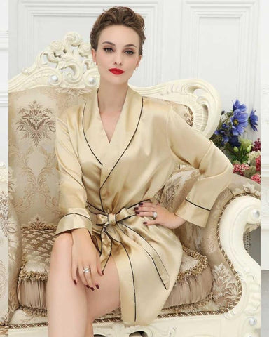 Beige Silk Sleepwear Robe Gown For Women