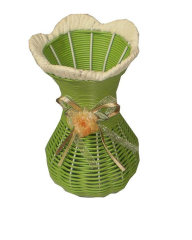 Pack of 2 Unbreakable Rattan Straw Flower Vase
