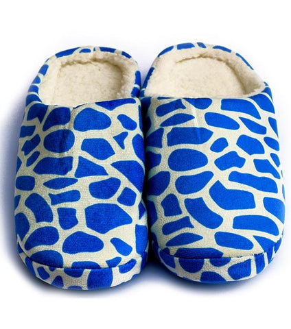 Light Blue Woolen Yarn Knitted Plush Foam Slippers for Women