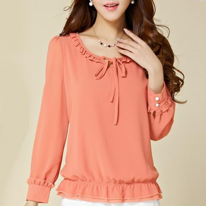 Women's Peach Chiffon Ruffles Puff Sleeve Blouse Tops. E4H-00020