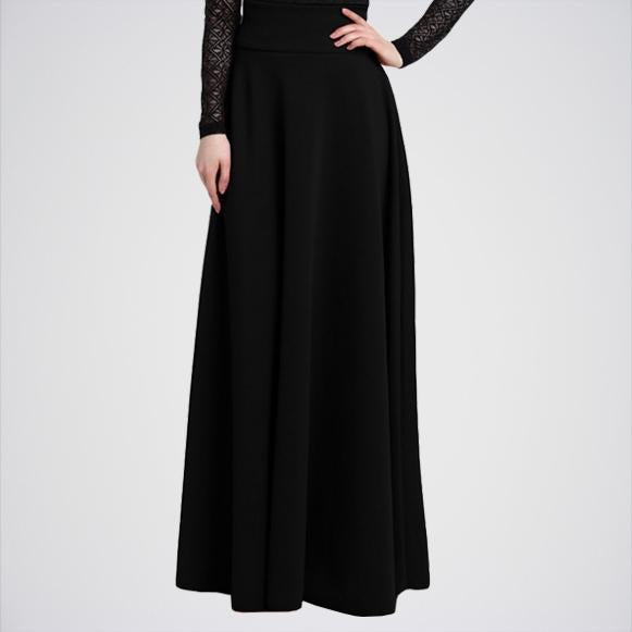Women's Black Pleat Long Skirt. E4h-11017