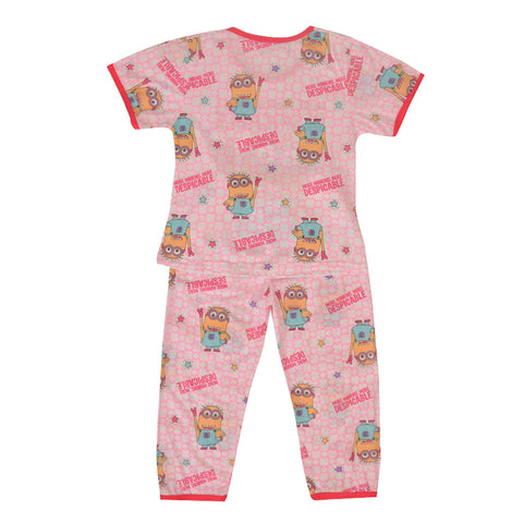 Pack of 2 Pure Cotton Night Suit (Pajama + Tshirt) for Girls - Minnions UG-426-6