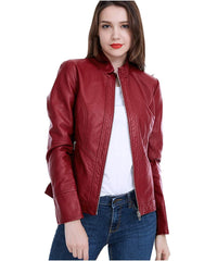 Women Pu Leather Jacket Women Pu Leather Jacket Ll-01 - Red