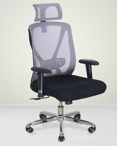 Revolving Ergonomic High Back Padded Office Chair - Grey