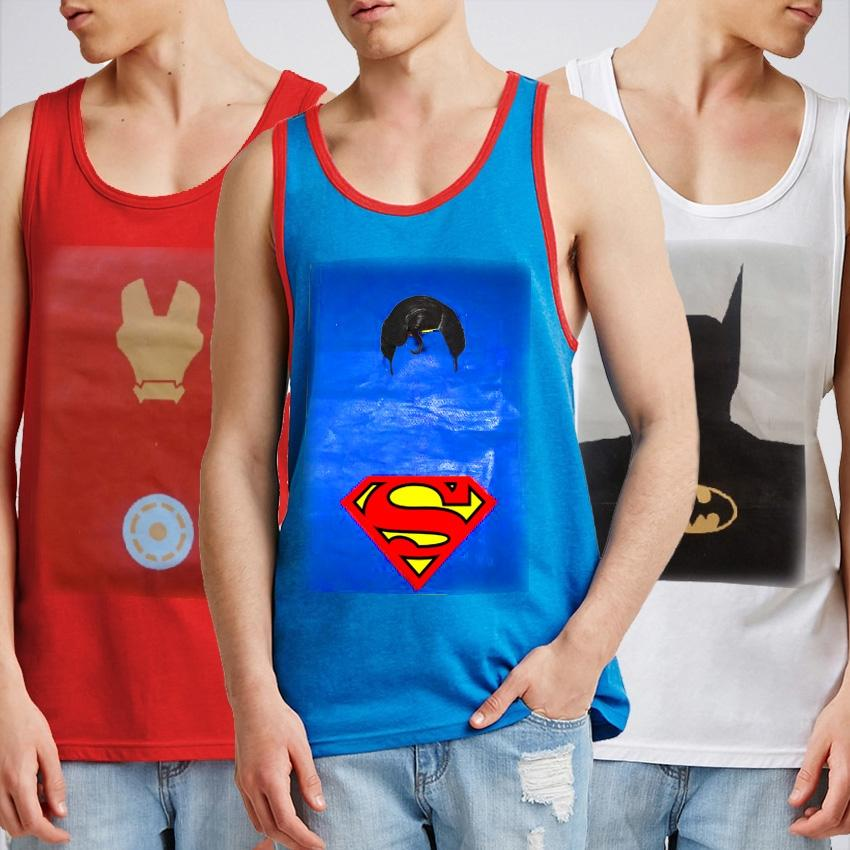 Pack of 3 - Multicolor Cotton Printed Tank Tops For Men - BSH-127