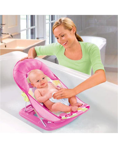 Washable Baby Bather with head rest pillow - Pink