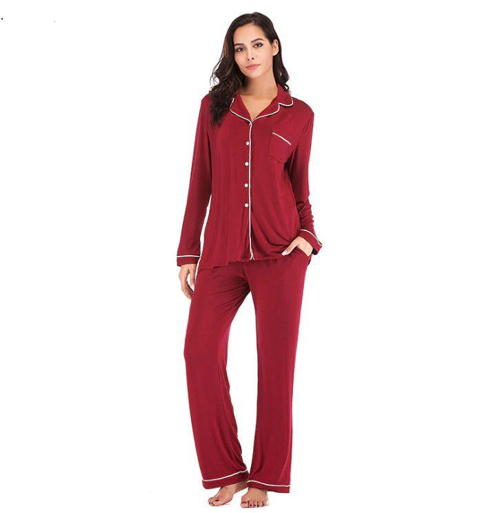 Maroon Cotton Long Sleeves Seepwear Pajama Sets For Women. SD-958