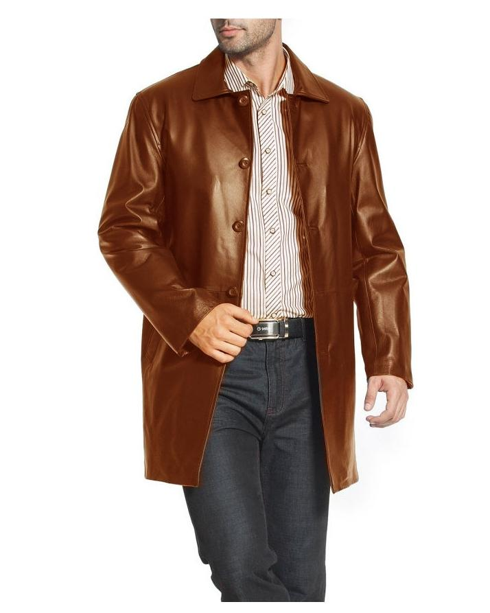 Mustard Leather Long coat For Men