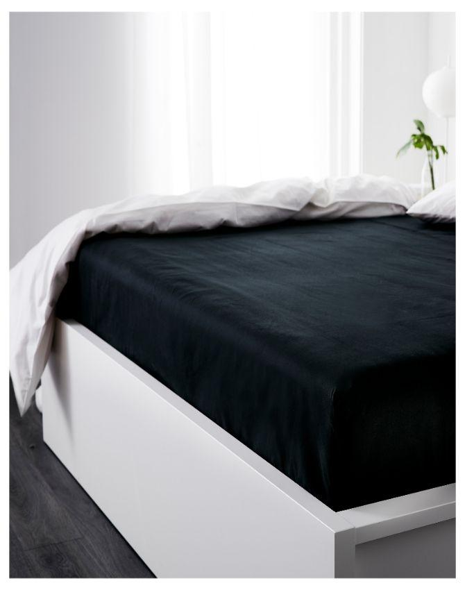 K-Linen Bedding Premium Cotton Fitted Sheet In Black