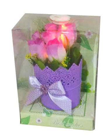 Home Decor Flower In Metal Pot With Color Changing Light