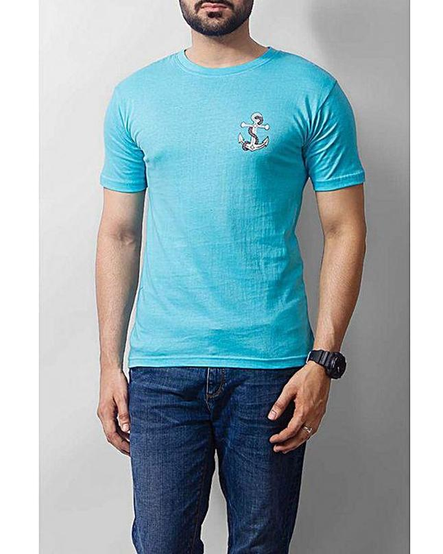 Turquoise Blue Anchor Logo Printed T-shirt For Men