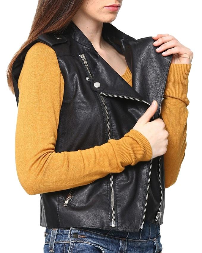 Black Faux Leather Highstreet Jacket for Women