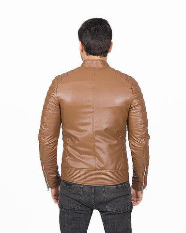 Brown Slim Fit Pu Leather Jacket For Men