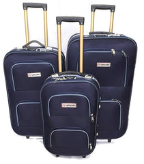 Wedding Luggage Set One Side 4 Wheels Trolley / 3Pcs/Front Pockets-wedblue