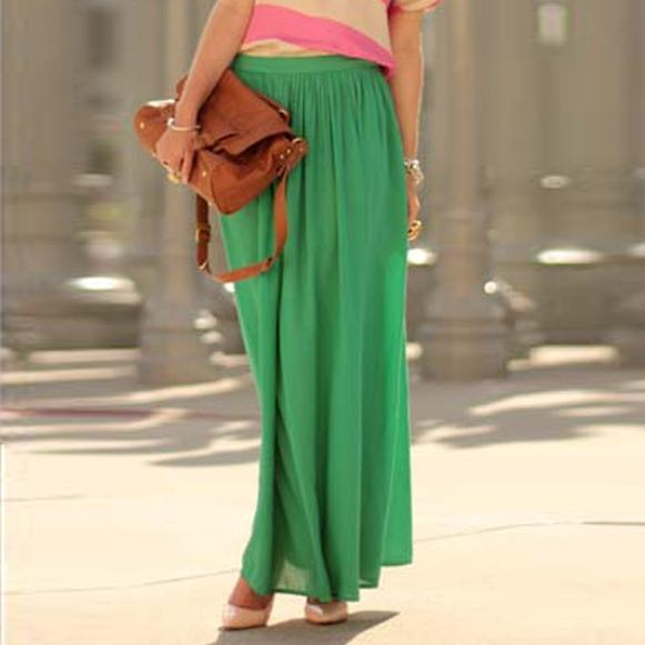 Women Green Pleated Linen Long Skirts. E4H-110140