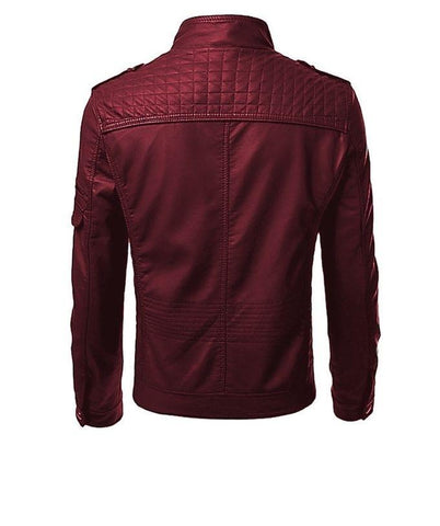 Red Men Slim Fit Pu Leather Jacket - USA-T11