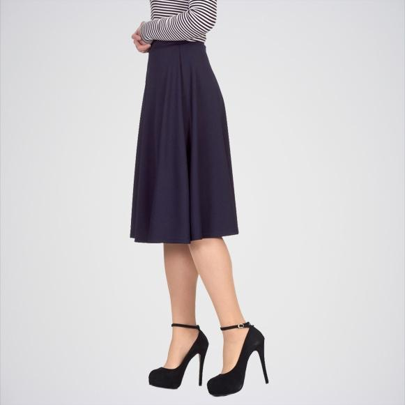Women's Navy Blue Swing Skater Midi Skirt. E4h-Midinvb