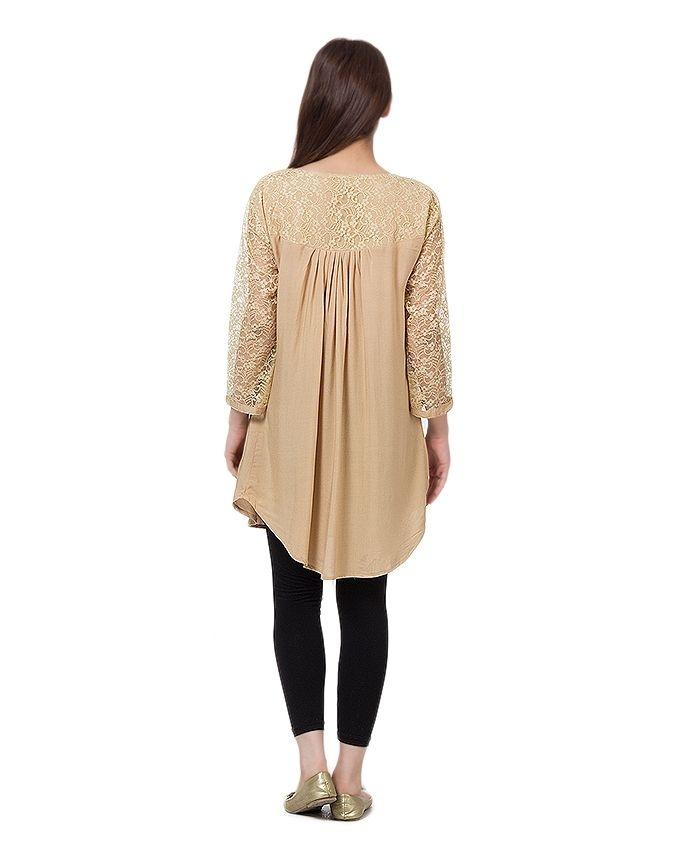 Beige Cotton and Net Top For Women