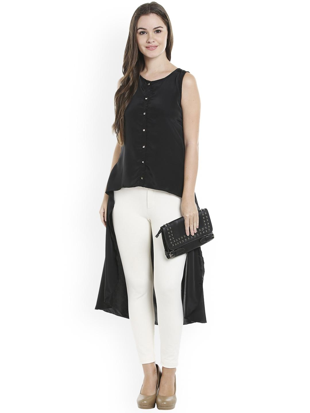 Black Button Down Low Back Tunic For Women