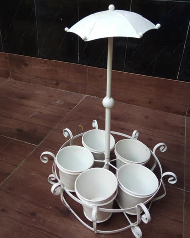 Metal Planter Holders with Stand and Umbrella - White