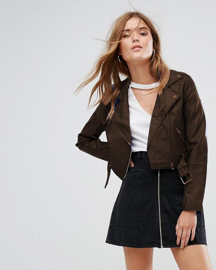 Highstreet Brown Faux Leather Jacket For Women