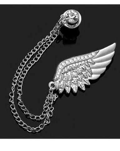 Rhinestone wing chain brooch lapel pin